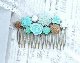 Blue And Green Comb Beach Wedding Blue Flower Comb Wedding Hair Comb Floral Hair Comb