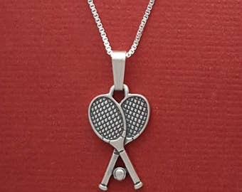 Tennis Rackets Necklace Solid 925 Sterling silver Charm Pendant and Chain