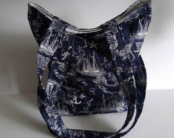 NAUTICAL Tote Bag, Tote Bag, Beach Bag, Picnic Bag, Book Bag, Gift for Her, Mother's Day Gift, Birthday Gift, Travel Bag, Navy Blue Nautical