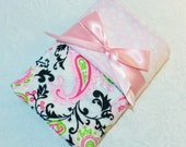 CLEARANCE SALE - NOW just 20 dollars- Ready to Ship- Minky Baby Blanket- Pink and Black Paisley with Light Pink Bubble Dot Minky- Crib  Size