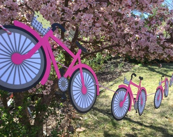 Bicycle Banner -- pick your colors! Bike, Mountain Bike, Ladies, Girls, Baby Shower, Nursery, Birthday Party