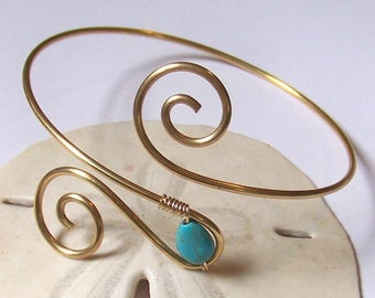 """SALE - Upper Arm Cuff - 10"""" to 10.5"""" Gold Sexy Brass Armlet Arm Torc - Swirl Brass Armband - 50% Goes to Breast Cancer Survivor"""