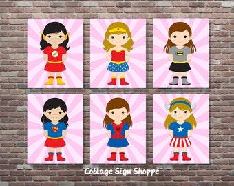 Girls Superhero Decor, Girls Superhero Wall Art, Set, DIGITAL, YOU PRINT, Girls Superhero Art, Girls Superhero Sign, Superhero Girl