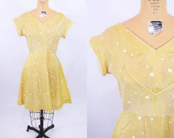 1950s party dress | AS IS yellow polka dot dress | vintage 50s dress | W 28""