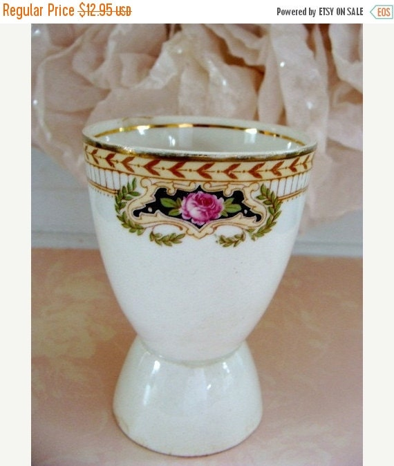 ON SALE Rare Antique Porcelain  Gold rimmed Egg cup made in England