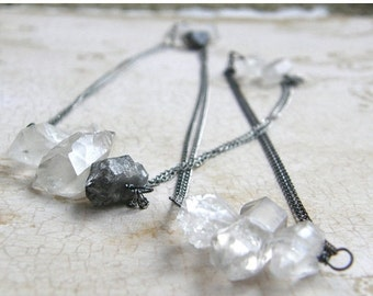 20% OFF Extra Long Quartz Necklace, Rough Cut Gemstone Layering Necklace, Sterling Silver Double Strand Necklace