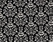"SALE - Minky Black and White Damask Fabric - 29""x30"" BLANKET CUT - Minky Black Damask - Minky Black White Rose Damask - Shannon Fabrics"