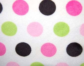 SALE - Minky Jumbo Dot Pink, Lime and Black - Hot Pink and Lime Green Polka Dot Fabric - Polka Dot Minky - Shannon Fabrics - 1 yard