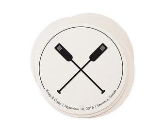 Wedding Letterpress Coasters - Rowing - Custom Favor Save the Date Decoration Bar Accessory Invitation