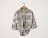 Vintage 90s Grey Plaid Flannel Shirt 90s Plaid Shirt Button Up Down Shirt Oversize Shirt 90s Grunge Shirt 90s Shirt Blue L XL Extra Large