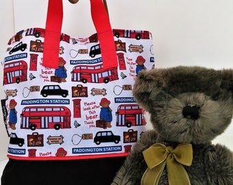 Paddington Bear Child Tote / School Tote / Book Travel Bag / Overnight Bag / Embroidered with Childs name