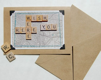 Vintage map scrabble tile missing you blank inside photograph greeting cards
