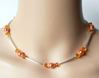 Orange Bridesmaid Jewelry, Pearl and Crystal Bridesmaid Necklaces, Mandarin Wedding Jewelry, Orange Pearl Jewelry, Matching Bridesmaid Sets