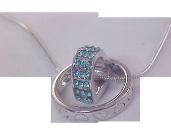 Unique Silver Plate Heart Accents~Three Row Aquamarine Swarovski Crystals Heart Inside Ring~NECKLACE