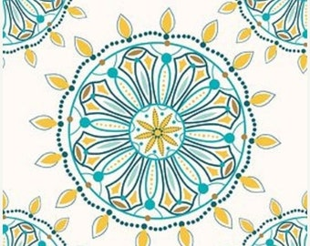 SALE Multi Colored Medallion Flower Indie Chic Fabric - Riley Blake