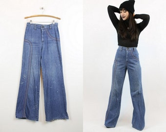 "70s Rainbow Jeans 30"" Waist Medium / 1990s Vintage Denim Wide Leg / Rainbow Bright Pants"