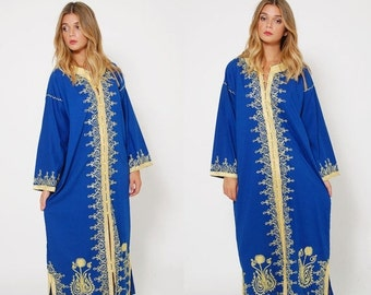 FALL SALE Vintage 70s EMBROIDERED Caftan Blue & Gold Boho Maxi Dress Ethnic Hippie Dress