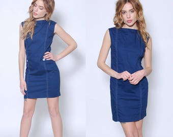 Vintage 60s NAUTICAL Mini Dress Blue MOD Shift Dress Sleeveless Sundress