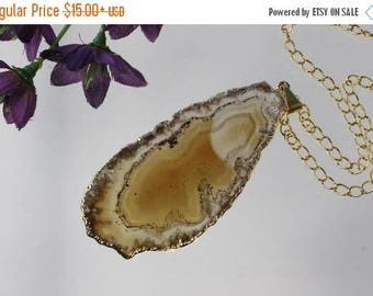 ON SALE Brown Agate Pendant, Agate Necklace, Crystal Agate Slice, Agate Slice, Gold Plated Agate, APS217