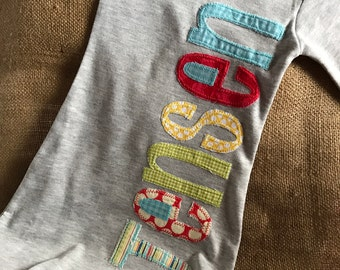 Personalized appliqué infant gown, boy name gown, baby boy shower gift, baby boy layette, grey gown