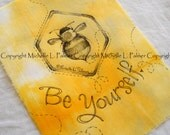 Original Pen Ink on Fabric Illustration Quilt Label by Michelle Palmer Bumble Honey Bee Bombus Garden Be Yourself Honeycomb Heart