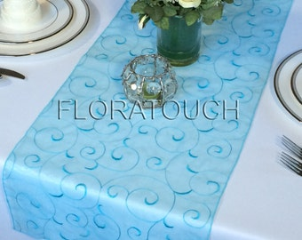 Pool Blue Light Turquoise Swirl Embroidered Organza Table Runner