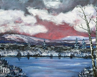 Winter Landscape Painting Mountains Lake Tree Nature Painting Original 10x20 Acrylic Art on Canvas Colorful Wall Decor Contemporary Art