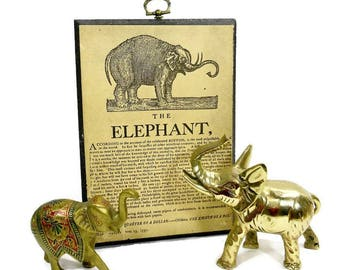 Vintage Elephant Picture / Wooden Plaque Wall Hanging / Tan Black / Paper Wood / Jungle Animal Home Decor Art Sayings / Decorative Hanger