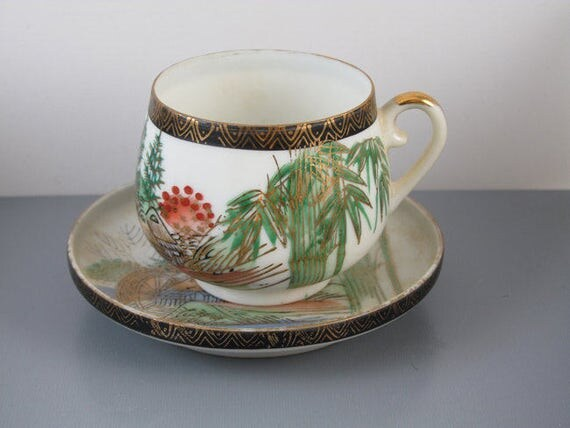Vintage hand painted Kutani Japan lithophane demitasse cup and saucer / porcelain / china / bone china / tea / coffee / eggshell