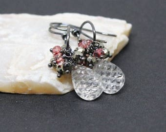 Oxidized Sterling Silver Earrings, Silver Cluster Earrings, Rock Crystal Quartz Gemstone, Handmade Earrings, Free Shipping, E17074