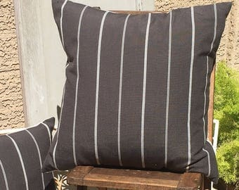 Woven Black / Steal Grey and Cream Stripe pillow Cover  Farmhouse / Modern / Masculine / Mid Century Modern  Decor