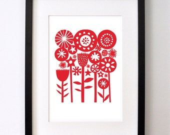 Red Summer Garden - Open Edition Giclee Print From an Original Paper Cut