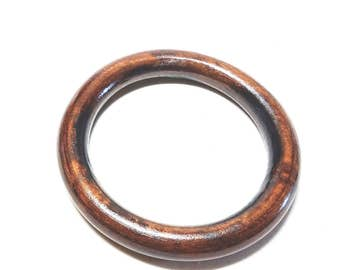 Dark Brown Wood Bangle Large Round Vintage Bracelet