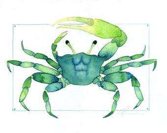 Colorful Blue and Green, Aqua Coastal Beach Green Crab, Crustacean, Watercolor by Clair Hartmann Original