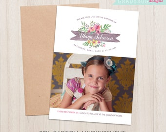 LDS Baptism Invitation, Girls Baptism Announcement, Floral, Purple, Pink, Lds Girl Baptism, Baptism Invite, CTR, Its Great to be 8, Invite
