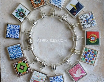 """Portugal Antique Azulejo Tile SILVER Plated Pendant for EUROPEAN """"PAN.."""" Brand Bracelet - Coimbra Sweetheart Azores - Choose One - Gift Box"""