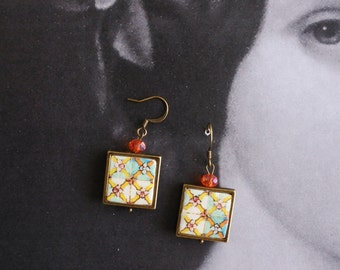 Earrings Tile Portugal Azulejo Portuguese Antique FRAMED - Caldas da Rainha  Pombaline pre 1755 Earthquake - Gift Box Included  924