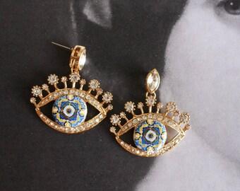 Portugal Antique Azulejo Tile Replica EYE Earrings - Rhinestones! 17th Century Blue Gold Tiles from Lisbon