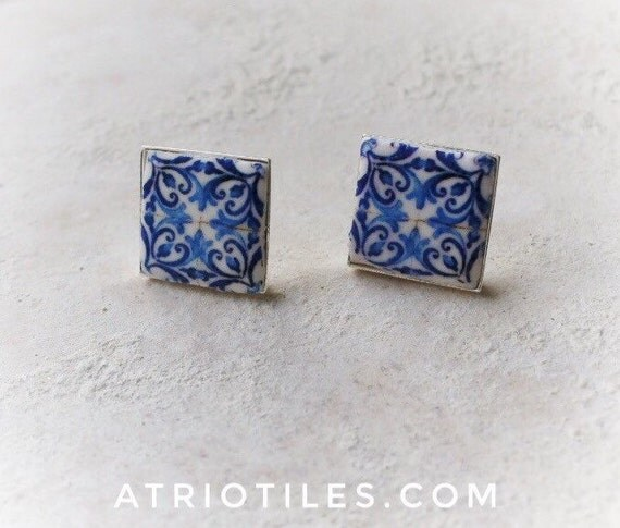 Portugal Antique Azulejo Tile Replica Blue SILVER or Brass POST STUD Earrings - Church of Mercy PoRTO