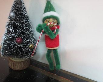 Vintage Chenille Ornament - Green Elf Ornament / Antique ornament / bendable elf / tiny elf / mantle elf