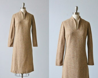 Vintage 1970s Soft Brown Sheath Dress / Secretary Dress / Toffee