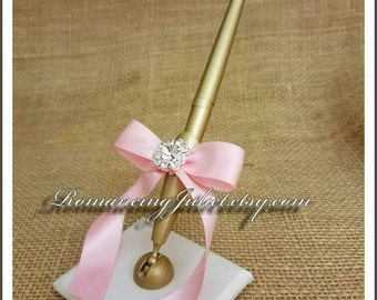 Romantic Satin Wedding Guestbook Pen with Rhinestone Accent...You Choose Colors.... shown in gold pen/ivory base/pale pink bow