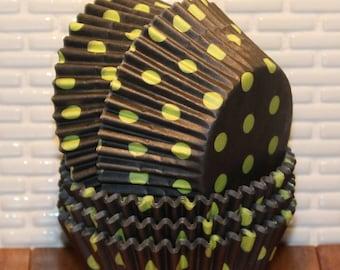 Black & Lime Green Polka Dot Cupcake Liners  (Qty 45) Lime Green Polka Dot Cupcake Liners, Black Polka Dot Baking Cups, Black Cupcake Liners