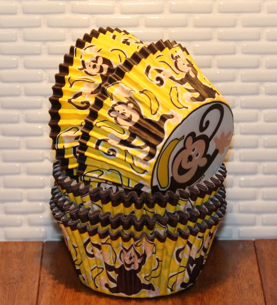Gone Banana's Monkey Heavy Duty Cupcake Liners (Qty 32)  Monkey Baking Cups, Cupcake Liners, Baking Cups, Muffin Cups, Yellow Cupcake Liners