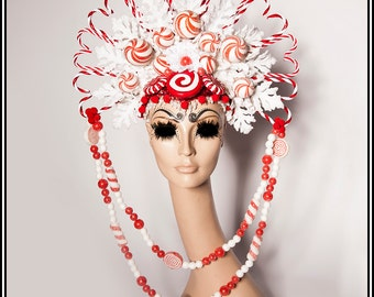 Christmas Tastiness... Candy Cane Headdress With Candies Christmas Holiday Red White and Glittery