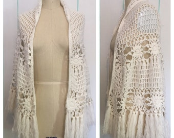 White Crochet Floral Shawl