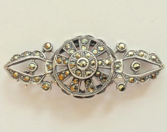 """1930's, 2""""x1/2"""", sterling marcasite pin"""