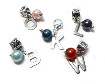 Add on initial charm, slider or clip on charm to personalise necklaces and bracelets, travellers notebook charms, planner charm