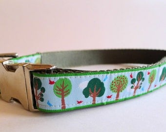 Happy Trees Blue Green Dog Collar with Metal Buckle - XL