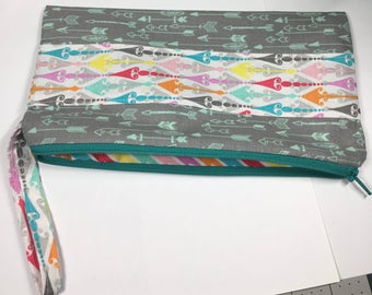 100% Cotton Tribal and Arrows Themed zipper pencil case